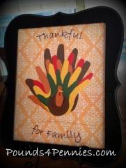 Hand cutout turkey family