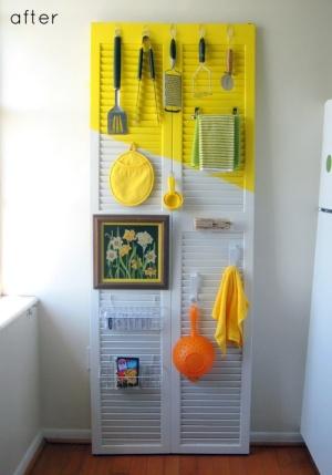 An-old-shutter-can-be-repurpose-as-a-kitchen-organizer-More-DIY-shutter-designs-@BrightNest-Blog